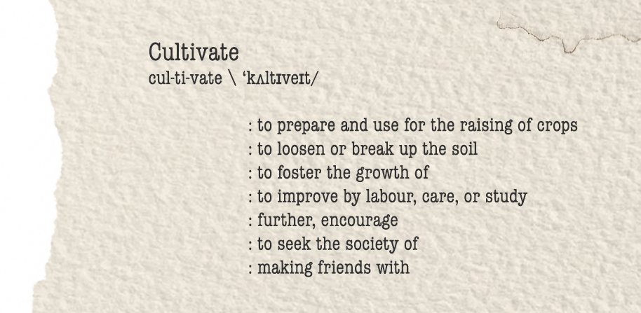 A dictionary definition of 'cultivate'