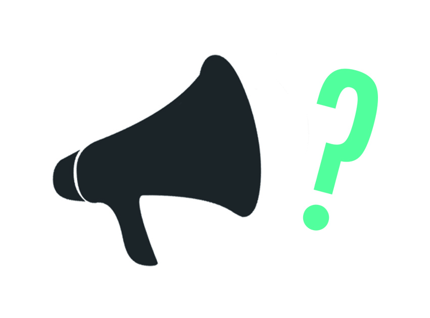 A graphic that shows a megaphone and a question mark, to signify asking a question