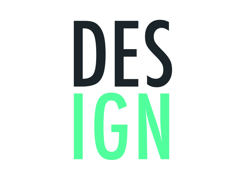 A graphic that shows the word 'design' in a green and grey font
